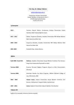 Yrd. Doç. Dr. Zübeyr Yıldırım - Uluslararası Antalya Üniversitesi
