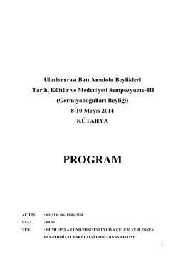PROGRAM - Türk Tarih Kurumu