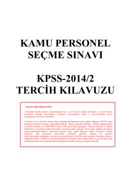 2014/2 KPSS Tercih Kılavuzu