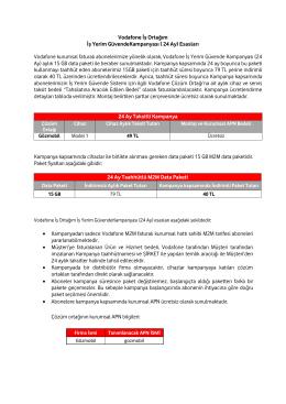 Vodafone İş Ortağım İş Yerim GüvendeKampanyası ( 24 Ay) Esasları