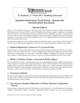 II. Konferans: 3-5 Nisan 2015, Hamburg Üniversitesi