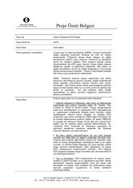 Adana Hastanesi KÖO Projesi [EBRD