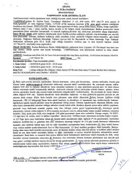 ADANA 12. ICRA DAIRESI 2014/4164 ESAS TASINMAZIN ACIK