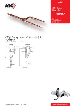 Y Tipi Branşman ( refnet - joint ) tip FQ01B/A