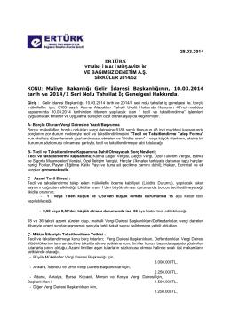 52-Maliye Bakanlığı Gelir İdaresi Başkanlığının, 10.03.2014 tarih ve