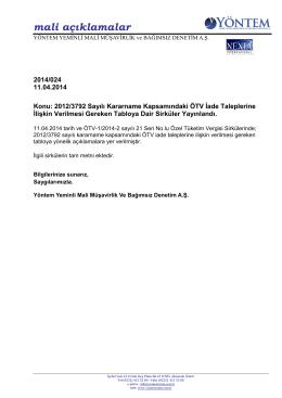 2014-024 2012/3792 Sayılı Kararname Kapsamındaki ÖTV İade