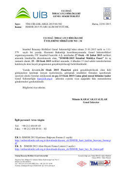 ISMOB 2015 FUARI ALIM HEYETİ HK.