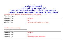hitit üniversitesi sosyal bilimler enstitüsü 2014 – 2015 bahar dönemi