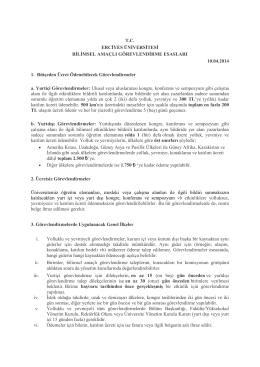 Erciyes Üniversitesi Bilimsel Amaçlı Görevlendirme Esasları