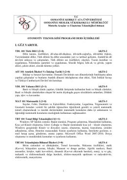 otomotiv programı ders içerikleri - Osmaniye Korkut Ata Üniversitesi