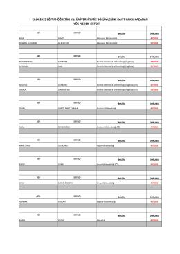 2014-2015 eğitim-öğretim yılı üniversitemiz bölümlerine kayıt hakkı