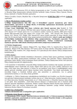 Türkiye ve Bölge Şampiyonası Talimatı (*)
