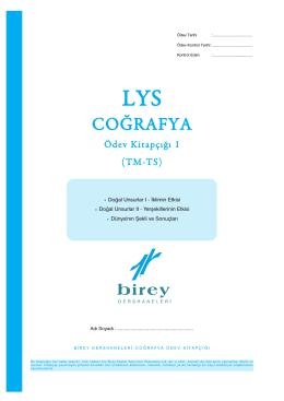 LYS Coğrafya TM - TS Ödev Kitapçığı 01.qxp