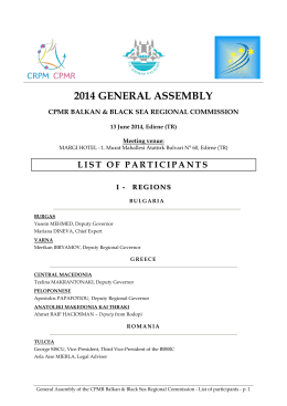 2014 GENERAL ASSEMBLY - Balkans and Black Sea