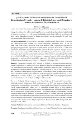 PA–046 γ radyasyonun Deinococcus radiodurans ve Escerichia coli