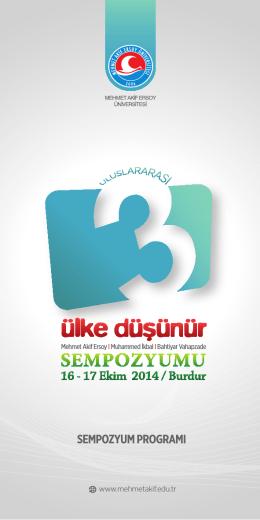 sempozyum programı - Mehmet Akif Ersoy Üniversitesi