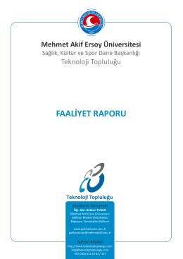 FAALİYET RAPORU - Teknoloji Topluluğu