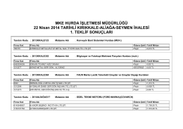 22.04.2014 tarihli ihaleye ait teklif listesi