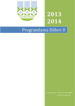 Programlama Dilleri II Deney Föyü