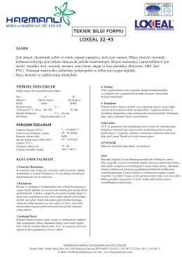 LOXEAL 32-43 TEKNİK BİLGİ FORMU