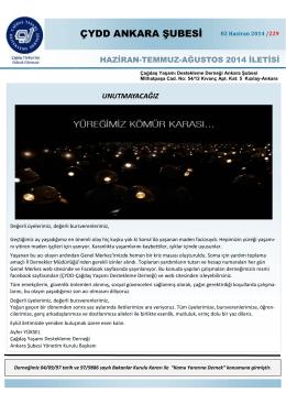 Haziran 2014 İleti - ÇYDD Ankara Şubesi