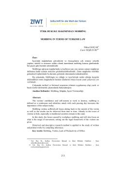 Türk Hukuku Bakımından Mobbing