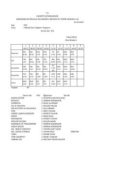 Sayı : 620 Konu : Haftalık Ders Dağıtım Programı 1 08:15 2 08:55 3