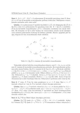 MTK346 Soyut Cebir II - Final Sınavı Çözümleri 1 Soru 1. f(x)=(x2 − 2