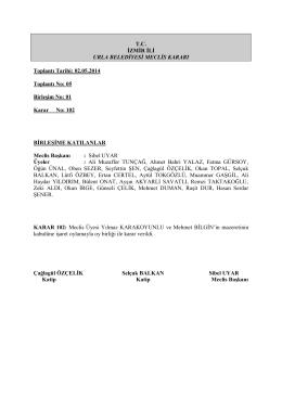 02 Mayıs 2014 Meclis Kararları