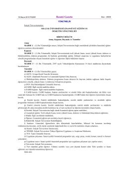 Selçuk Üniversitesi Lisansüstü Eğitim