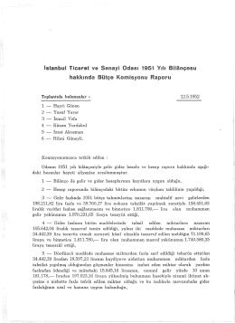 istanbul Ticaret ve Sanayi Odas1 1951 V1h Bilançosu