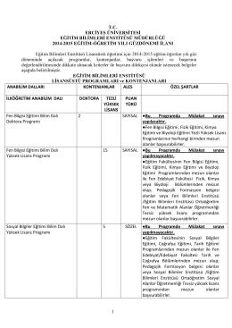 1 tc erciyes üniversitesi eğitim bilimleri enstitüsü müdürlüğü 2014