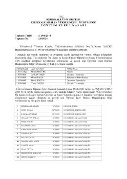11.06.2014 Tarihli Yönetim Kurulu Kararı