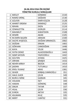 26.06.2014 tarihli ön seçim sonuçları