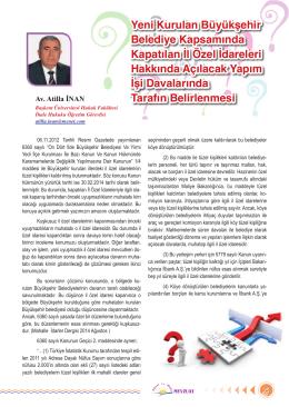 Yeni Kurulan Büyükşehir/Av.A. İnan