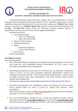 dumlupınar üniversitesi dış ilişkiler koordinatörlüğü 2014/2015