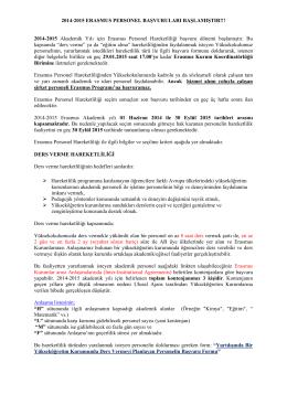 2014-2015 Erasmus+ Personel Başvuruları Başladı 11/12/2014