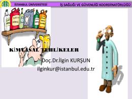 Kimyasal Etkenler - İstanbul Üniversitesi | İş Sağlığı ve Güvenliği