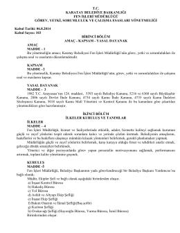 tc karatay belediye başkanlığı fen işleri müdürlüğü görev, yetki