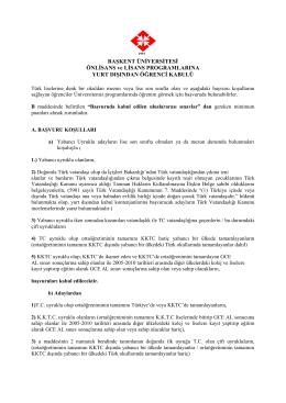 Başkent Üniversitesi Önlisans ve Lisans Programlarına Yurt