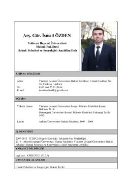 Arş. Gör. İsmail ÖZDEN (ÖYP) - Yıldırım Beyazıt Üniversitesi