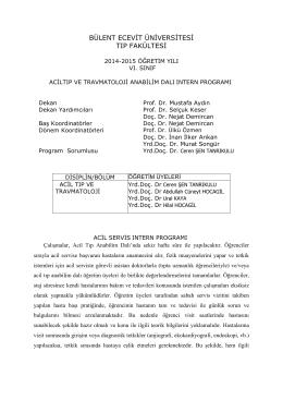 acil tıp ve travmatoloji - Bülent Ecevit Üniversitesi Fizik Bölümü