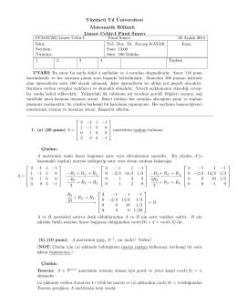 Fen Fakültesi, Matematik Bölümü, Lineer Cebir