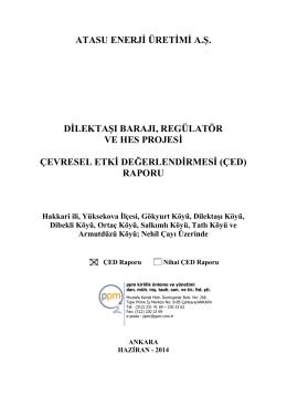 (çed) raporu - Çevre ve Şehircilik Bakanlığı