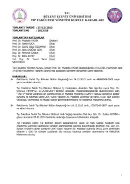 27/12/2013 Tıp Fakültesi Yönetim Kurulu Kararı