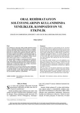 PDF - Oral Rehidratasyon Solüsyonlarının Kullanımında Yenilikler