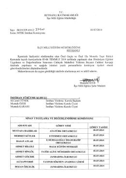 MTSK İmtihan Komisyonu - reyhanlı ilçe millî eğitim müdürlüğü