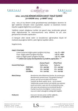 2014 - 2015 kış dönemi düğün davet teklif içeriği