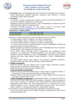 2014-2015 kano branş açıklamaları