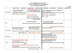 h.ü. hemşirelik fakültesi 2014-2015 öğretim yılı güz dönemi haftalık